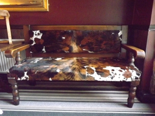whole cow hide bench
