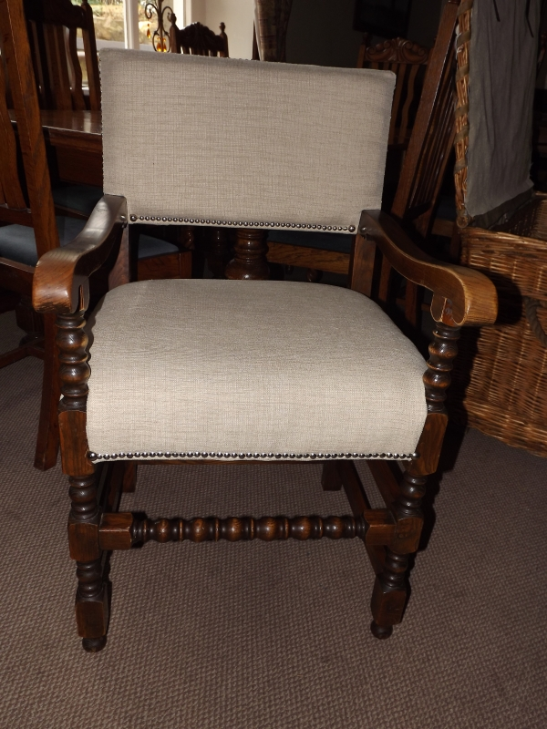 solid dark oak commissioned chair...the bosses chair!