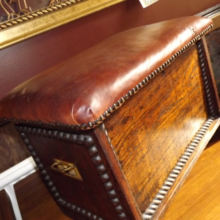 fab leather-topped oak chest