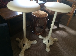 cream leather cast iron stools